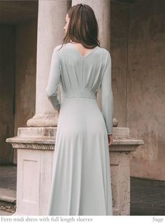 Create your own dress from our custom designer dress options. Choose from 6 bodice shapes, 5 sleeve styles, 2 dress lengths and 51 colours. Designer Bridesmaid Dresses, Designer Dresses, V Neck Midi Dress, Color Swatches, Ferns, Sleeve Styles, Sage, Create Your Own, Bodice