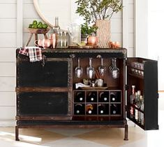 Modular Bar Buffet with 2 Cabinet Bases & 1 Wine Grid Base
