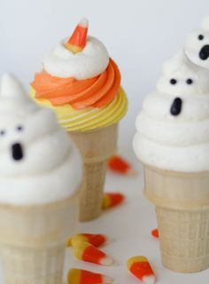 Ghost and Candy Corn Ice Cream Cone Cupcakes