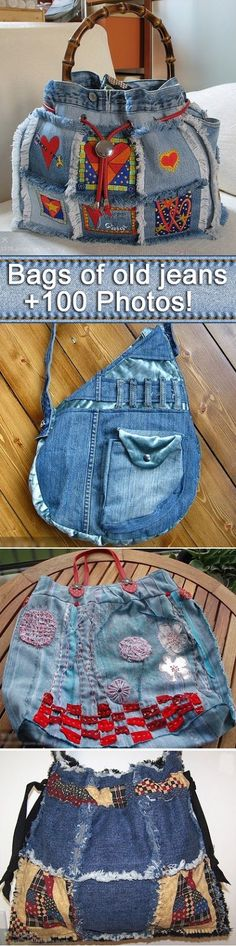 We sew bags from old jeans and denim.Compilation photos - plenty of jeans upcycling inspiration Jean Purses, Denim Purse, Mode Jeans, Denim Crafts, Jean Crafts, Denim Ideas, Recycled Denim, Denim Handbags, Handmade Bags
