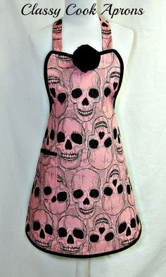 Your place to buy and sell all things handmade Black Goth, Pink Black, Halloween Apron, Halloween Kitchen, Alexander Henry Fabrics, Sewing Aprons, Mexican Folk Art, Sewing Crafts, Pin Up