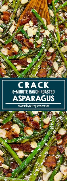 Crack Asparagus (Best Roasted Asparagus Recipe) - Easy 8 minute healthy side dish vegetable in a delicious and addictive ranch citrus sauce with lemon and olive oil. Served with toasted almonds, salty bacon, and parmesan cheese. Best Side Dishes, Healthy Side Dishes, Veggie Dishes, Side Dish Recipes, Easy Dinner Recipes, Easy Meals, Easy Asparagus Recipes, Oven Roasted Asparagus, Healthy Vegetable Recipes
