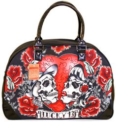 Lucky 13 Los Amantes Day of the Dead Tattoo Skeleton Lovers Overnight Purse