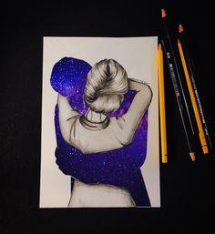 #universe #galaxy #drawing #illustrator #art #night #girl #hug