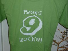 shirt Being 9 Rocks 9th birthday party tee by OodlesDecals on Etsy, $13.00