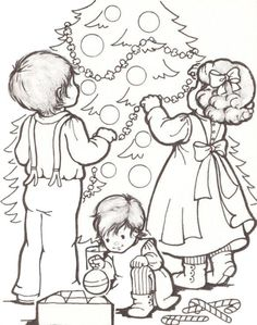 Kids And Xmas Tree Christmas Coloring PagesKids