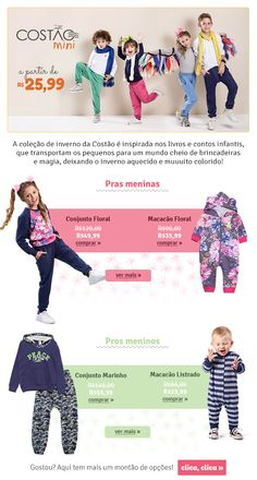E-mail extra da marca Costão. Shopping, Floral Playsuit, Winter Collection, Short Stories, Girls