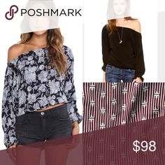 NEW Flynn Skye Chelsea Top -maroon & white pattern NWOT! Flynn Skye Chelsea Top in a cute maroon and white pattern! Size 1 = small in FS. Can be worn regular length or crop style thanks to elastic at bottom! Off shoulder style with cute sleeve detailing. No longer available online or in store Flynn Skye Tops