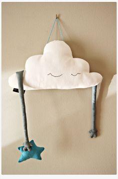DIY - Cloud shaped pillow stuffed toy plush hand softie twinkle star handmade stuffed cloud white blue. Nursery room decor 16'' (41cm)