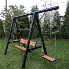 Welded Furniture, Iron Furniture, Steel Furniture, Industrial Furniture, Furniture Projects, Furniture Design, Swing Table, Swing Design, Outdoor Furniture Plans