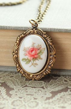 Pink Rose Necklace Cameo Necklace Vintage Style Pendant Glass Cameo Flower…