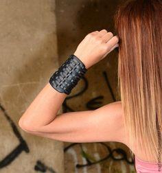 Купить Стильный черный браслет - черный, браслет, Браслет ручной работы, браслет из кожи