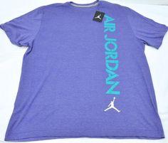 b54132382dd NWT Mens Air JORDAN Vertical Logo Grape Purple Emerald V T-shirt Sz 2XL XXL   nike  GraphicTee