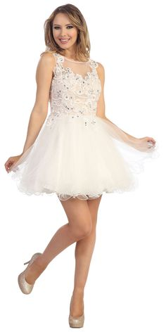 Off White Sleeveless Lace Bodice Party Dress LT5573-OW $144.00 on www.PromDressLine.Com Extra 15% Off Coupon : 2014P15OFF Expires: 3/31/2014