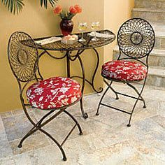 Metal Half-Round Folding Table and Set of 2 Bistro Chairs- great for small front porch!