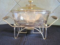 Art Deco Georges Briard Gold BUFFET SERVER  CASSEROLE STAND CANDLE WARMER DANISH