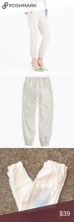Jcrew seaside pants So comfortable and classy, can wear to the neck or a night out! Elastic waist for comfort so can fit a 12 also. I just bought the wrong size J. Crew Pants Ankle & Cropped