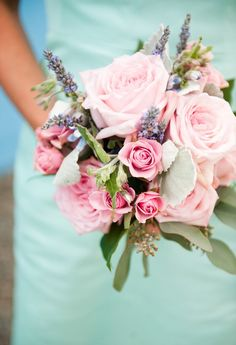 Beautiful, bright pink against pale turquoise - such a great, summery combo! (Kate Connolly Photography, flowers by Michelle Tallent & Co., dress by J. Crew)