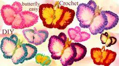 Aprende Como tejer a Crochet fácil  Mariposas en 3D con alas de Colores-...