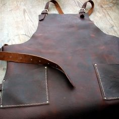 Leather Work Apron with Brass Buckles and Hammer by CyclonaDesigns