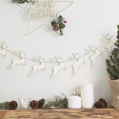 How adorable is this wooden reindeer bunting with pom pom noses!🦌It's the perfect rustic Christmas decoration for your home this year and will go perfectly with our star wreath! Christmas Bunting, Christmas Decorations For The Home, Rustic Christmas, Reindeer Christmas, Xmas, Snowflake Cutouts, Wooden Reindeer, Honeycomb Decorations, Banner