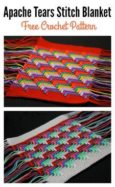 Classic Apache Tears Stitch Blanket Free Crochet Pattern and Video Tutorial Crochet Edging Patterns, Crochet Chart, Loom Patterns, Crochet Motif, Knit Crochet, Crochet Edgings, Quick Crochet, Free Crochet, Apache Tears