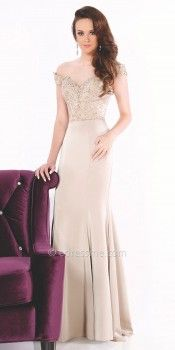 Off The Shoulder Beaded Evening Dress by Mon Cheri Evenings