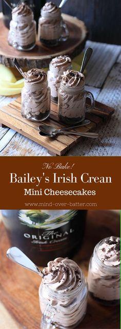 No Bake Bailey's Irish Cream Mini Cheesecakes (Baileys Cheesecake Recipes) Köstliche Desserts, Delicious Desserts, Dessert Recipes, Yummy Food, Irish Desserts, Alcoholic Desserts, Cocktail Desserts, Asian Desserts, Baileys Recipes