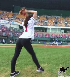 Rhythmic Gymnast Shin Soo-ji Throws Out an Impressive First Pitch at a Korean Baseball Game.