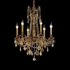 """Elegant Lighting 9206D23FG-GT/RC Rosalia Collection Dining Room Hanging Fixture D23"""" x H26"""" French Gold Finish (Royal Cut Golden Teak Crystals)"""