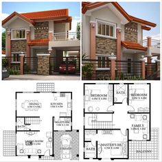 House design plan with 4 bedrooms Two Story House Design, 2 Storey House Design, Bungalow House Design, House Design Photos, House Front Design, House Layout Plans, My House Plans, House Layouts, Philippines House Design