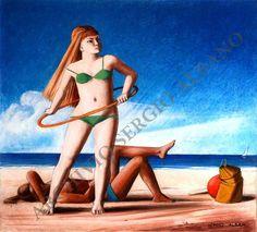 On the beach / Sulla spiaggia Acrylic on paper / acrilico su carta 19 x 21 cm executed in 1999