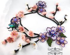 collier, halskette, kette, beadart, beadwork, pearlfactory, sakura, blossom