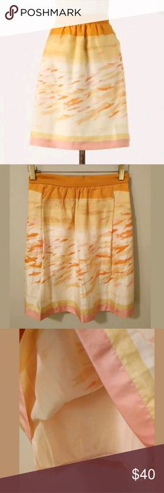 """✨LOWEST✨ We Love Vera Silk Watercolor Skirt Anthro Goldfish Bowl Skirt  By We Love Vera  Size 2  Fully lined  100% silk shell  100% cotton lining  Gorgeous, versatile skirt in new condition  12.5"""" across waist  20.5"""" long  Front pockets!  Looks great with the pink J. Crew shirt that is also for sale  ✨ This is my lowest price ✨ Anthropologie Skirts"""