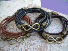 Triple Wrap Infinity Leather Bracelet with by UrbanSurvivalGearUSA, $25.99