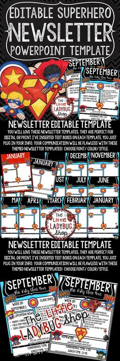 Emoji Theme Monthly \ Weekly Newsletter Template Editable Class - weekly newsletter template