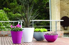 Madison Planter Set:  Rotationally molded resin planters provide a great value given the 10 year limited warranty - they are crack and fade proof making them the perfect planters for even extreme weather conditions. High design that will make a statement in any location. Lightweight and easy to handle.