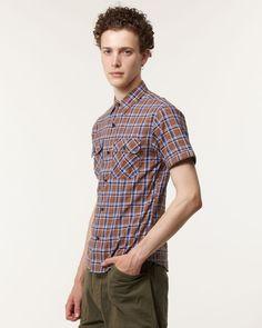 BEAMS TOPS ブラウン チェックスキニーワークシャツ