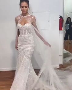 Berta Style Spring Summer 2020 Collection Gorgeous Embroidered Strapless Sweetheart Mermaid Wedding Dress / Bridal Gown with a Cape and a Train. Spring Summer 2020 Bridal Collection by Berta Top Wedding Dresses, Stunning Wedding Dresses, Wedding Dress Trends, Bridal Dresses, Wedding Gowns, Wedding Dress Cape, Bridal Cape, Wedding Dress Train, Sweetheart Wedding Dress