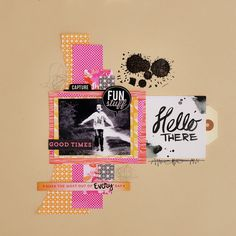 Hello There by Marinette at Scrapbook Pages, Scrapbooking, Scrapbook Layouts, Hip Kit Club, Basic Grey, Studio Calico, Layout Inspiration, Page Design, Mini Albums