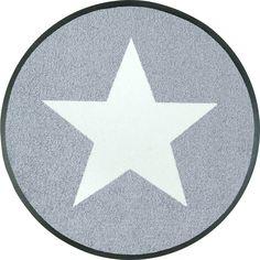 #Runde Fußmatte #StarsGrey von #wash+dryDesign - ein Blickfang für jeden Flur.