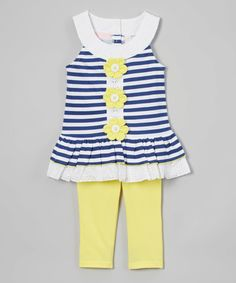 Look at this Kids Headquarters Blue Stripe Flower Tunic & Leggings - Infant, Toddler & Girls on #zulily today!