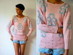 Vtg Retro Jeweled Silver Floral Baby Pink Knitted by LuluTresors, $29.99