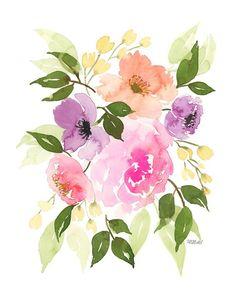 Nutrition Education For Kids Watercolor Cards, Watercolor Print, Watercolour Painting, Watercolor Flowers, Painting & Drawing, Watercolours, Arte Floral, Flower Art, Flower Plants