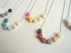 Geometric Necklace Pastel Faceted  Wood Geometric by LiKeGjewelry