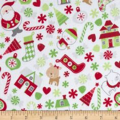 Riley Blake Home for the Holiday's Flannel Main White from @fabricdotcom  Designed by Doodlebug Design for Riley Blake Designs, this single napped (brushed on front side only) flannel is perfect for quilting, apparel and home decor accents. Colors include white, grey, tan, red and green.