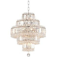 """Talitha 18 1/2"""" Wide Chrome 18-Light Crystal Chandelier ($600) ❤ liked on Polyvore featuring home, lighting, ceiling lights, crystal ceiling lights, crystal chandelier, chain chandelier, crystal light and hanging chain lamps"""