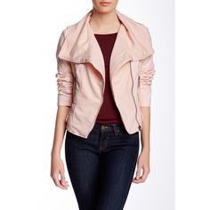 Blanc Noir Quilted Pleated Cascade Moto Jacket ($42) ❤ liked on Polyvore