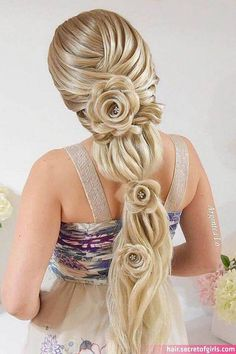 Unique Braided Hairstyles, Wedding Hairstyles For Long Hair, Pretty Hairstyles, Girl Hairstyles, Hairstyle Short, School Hairstyles, Easy Hairstyles, Rose Hairstyle, Unique Braids