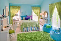 Girl's Blue-Green Bedroom